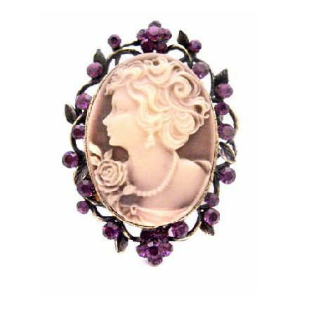 Mothers Day Gift Cameo Brooch / Pendant Timeless Amethyst Crystals
