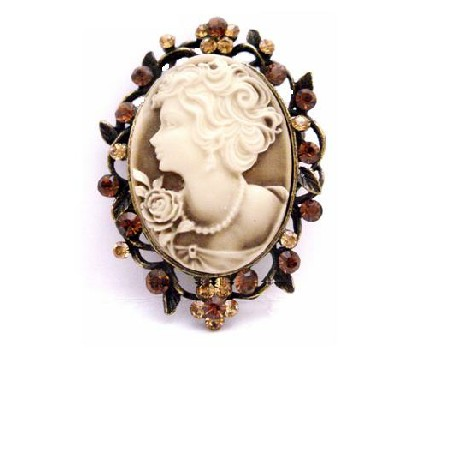 Heiress Filigree Crystals Cameo Brooch For Mothers On Their Day