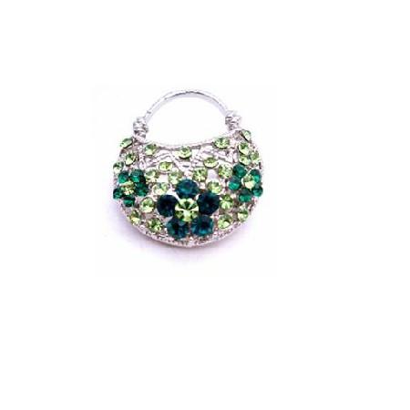 Cute Purse Brooch Prom Peridot Crystals Fully Embedded Pin Brooch