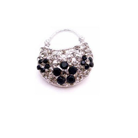 Stunning Purse Brooch Black Diamond Jet Crystals Brooch Sparkling Gift