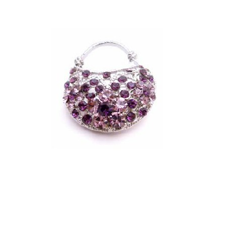 Amethyst Purse Brooch Beautiful Gift Amethyst Pin Brooch Sparkly Gift