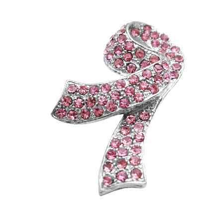 Pink Crystals Brooch For Breast Cancer Charitable Jewelry Silver Clasp