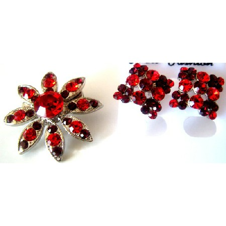 Affordable Holiday GIft Christmas Gift Siam Red Brooch Earrings Combo