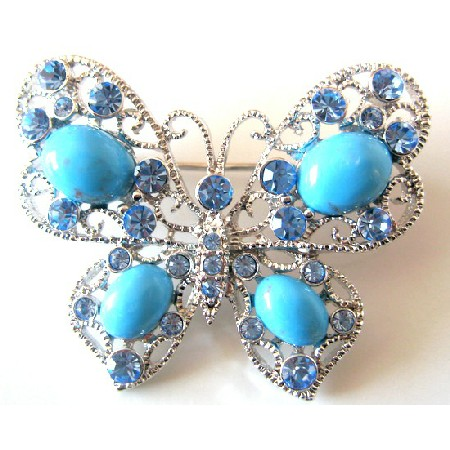 Turquiose Butterfly Aquamarine Crystals Holiday Gift Brooch Pin