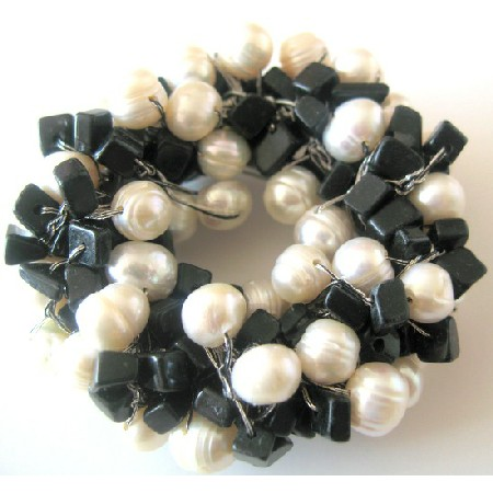 Party Brooch Handmade Freshwater Pearls Onyx Nugget Chip Stone Brooch