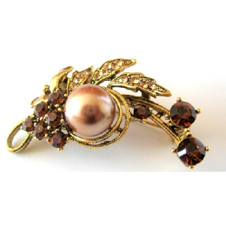 Bridesmaid Bridal Bronze Pearls with Smoked Topaz Crystals Brooch