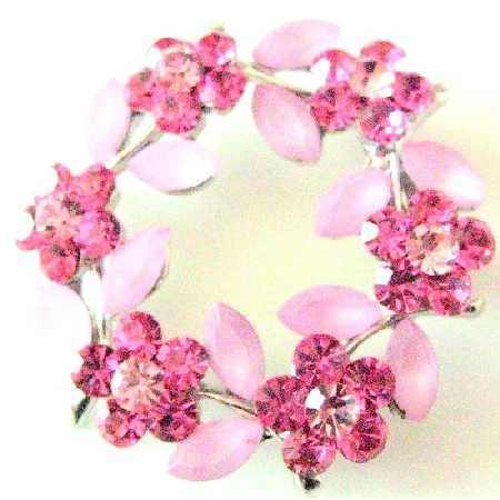 Rose Crystals Round Flower Crystals Sophisticated Brooch