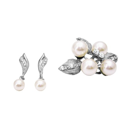 Wedding Bridal Earrings & Brooch Combo Ivory Pearl Brooch & Earrings