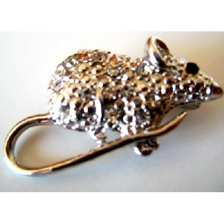 Rat Brooch Embedded with Rhinestones Encrusted Artistically Cubic Zircon