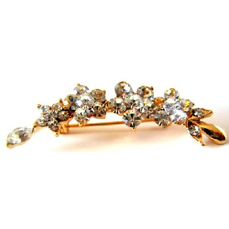 Amazing Holiday Brooches Gold Plated Clear Crystals Flower Brooch Pin