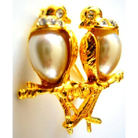 Romantic Love Dude Birds On Gold Stem Valentine Gift