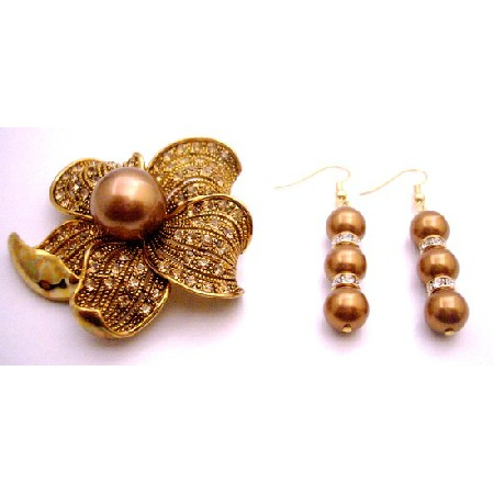 Gift Golden Sunflower Golden Shadow Crystals Brooch & Pearls Earrings