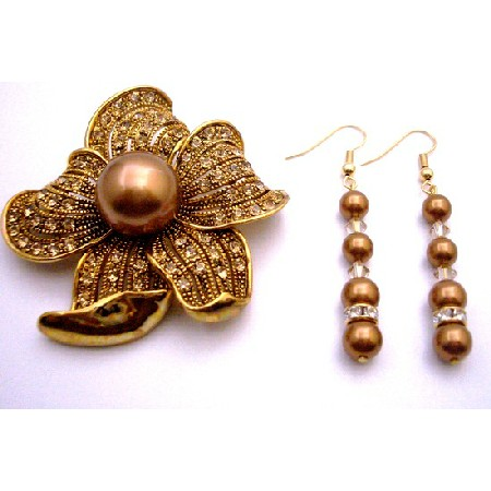 Copper Pearl with Gold Shadow & Gold Spacer Match Brooch Sunflower Gift