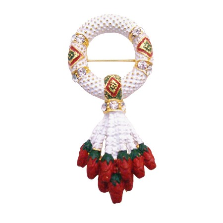 Hand Painted Garland Brooch Token Of Love Respect Gift Your Love One