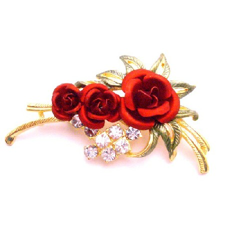 Express Your Love Anytime w/ Red Rose Brooch Enamel Beautiful Leaves