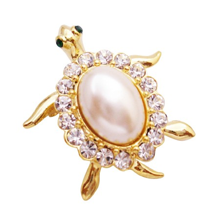 Unique Cute Gold Turtle Brooch Extra Sparkling Topping on Your Fashion