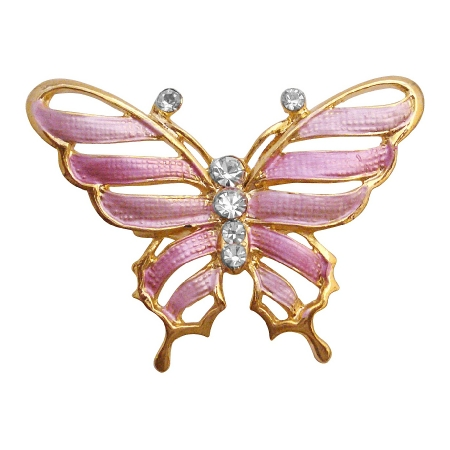 Vintage Sleek & Dainty Pink Gold Enamel Butterfly Brooch Pin