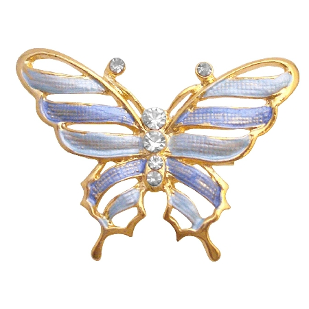 Gold Sleek & Dainty Blue Enamel Butterfly Artistic Cubic Zircon Work