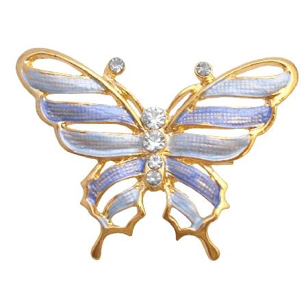 Gold Sleek & Dainty Blue Enamel Butterfly Artistic Cubic Zircon Work