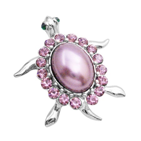 Sign Of Luck Turtle Brooch Designate Long Life Amethyst Crystal Brooch