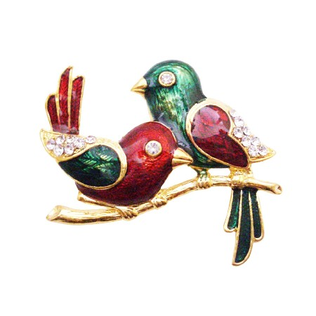 Wedding Anniversay Cake Brooch Valentine Twin Sweet Bird Brooch Gift