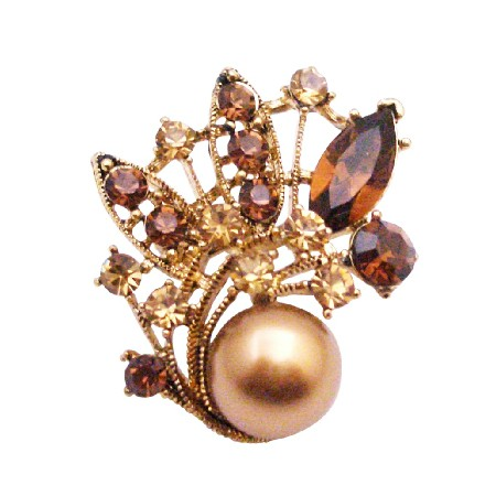 Bronze Pearl Gold Prom Flower Girl Bridesmaid Holiday Gift Brooch Pin