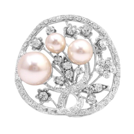 Turn Holiday Shopping Into Pleasure Unique Round Ivory Pearls Brooch
