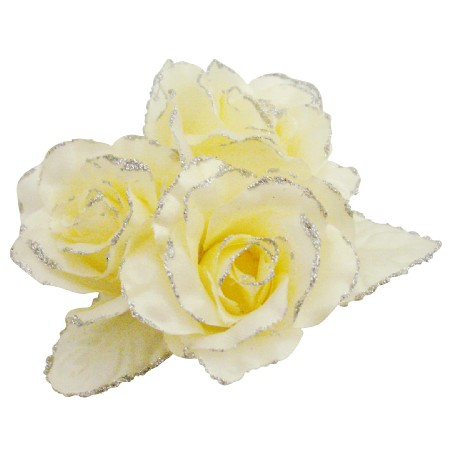 Satin Rose Flower Brooch Pin In Yellow Butter Color For Wedding Dress