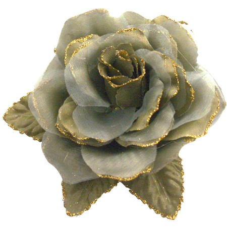Olive Green Layered Organza Flower Designer Stunning Dress Brooch Pin