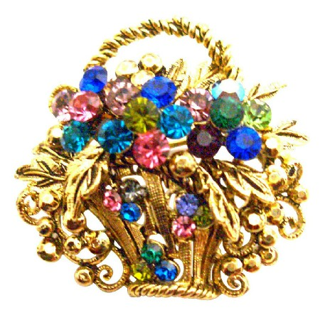 Gold Burnished Multi Colored Rhinestone Flower Basket Brooch Pin Gift