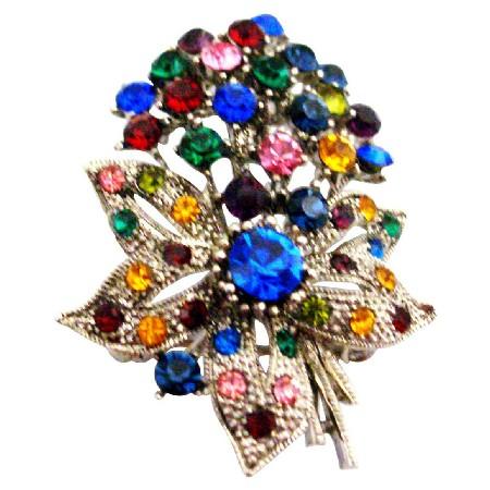 Flower Bouquet Brooch Alloy Metal w/ Spring MultiColor Crystals Brooch