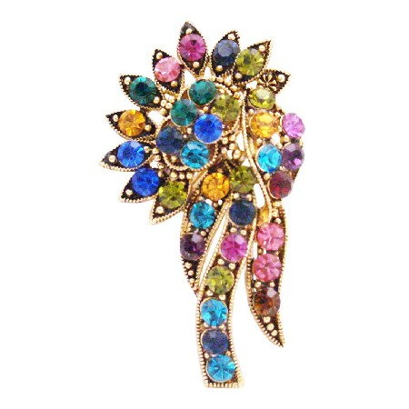 Multicolor Crystals Flower Antique Gold Vintage Bouquet Trendy Brooch