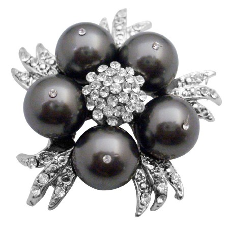 Match Your Brooch w/ Swarovski Dark Grey Dress Pearls Brooch