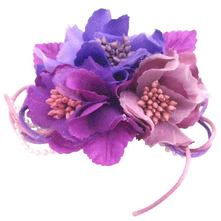 Blossom Hair Clip & Brooch Pin Flower Purplish Lavender Pollen Color