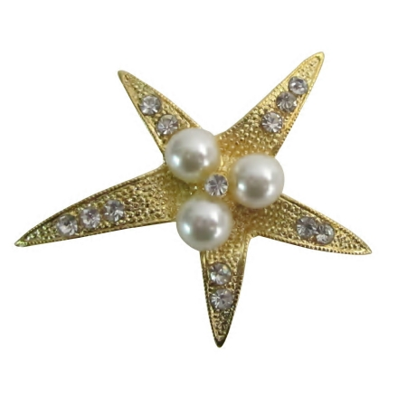 Low Priced Golden StarFish Pearls & Rhinestones Christmas Gift Brooch