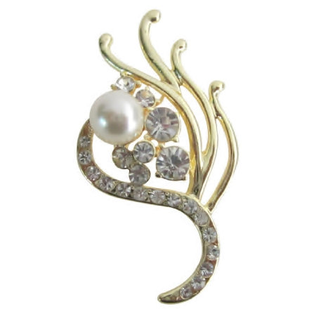 Attractive Wedding Vintage Golden Bridesmaid Decorated Pearls Brooches