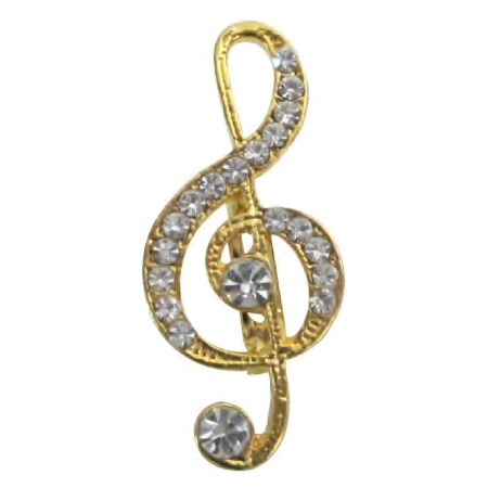 Favorite Elegant Vintage Golden Tone Musical Note Shaped Brooch Gift
