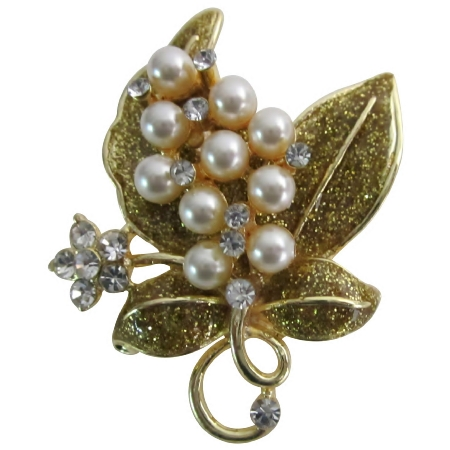 Breathtaking Gift Golden Glitter Leaf & Pearls Flowers Romantic Brooch