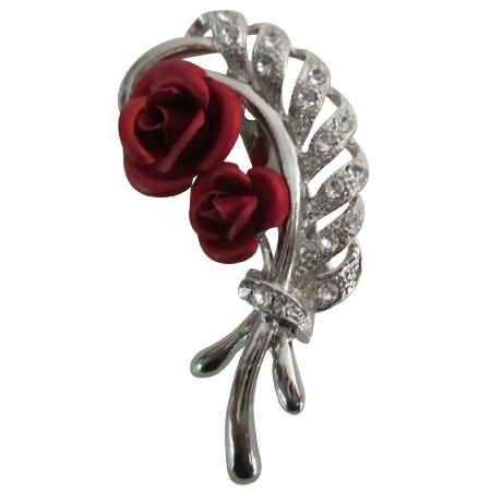 Beautiful Leaf Stem Bouquet Red Roses Fascinated Vintage Bridal Brooch