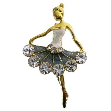 Ballet Dancer Ballerina Gorgeous Vintage Dancer Brooch Gold Tone Pin