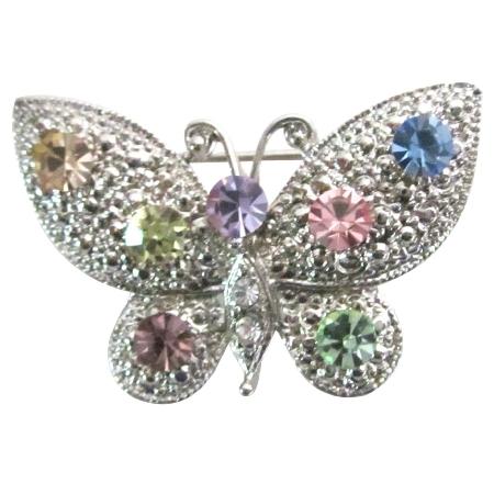 Vintage Multicolor Rhinestones Dainty & Sophisticate Butterfly Brooch