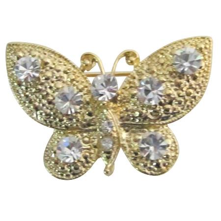Breathtaking Brooch Pin Sleek Elegant Clear Crystals Golden Butterfly