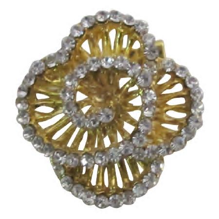 Gold Plated Swirl Rose Brooch Dazzling Elegant Dainty & Sleek Brooch