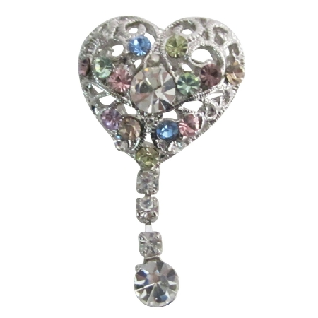 Heart Shaped Brooch Multicolor Crystals Dangling Celebrity Brooch Pin