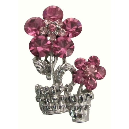 Magnificient Stunning Pink Crystals Rose Vase Brooch Bridal Gift Pin