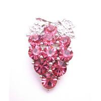 Prom Brooch Pink Rose Crystals Silver Casting Leaves Crystals Brooch :  rose giftromantic broochvalentine broochsilver