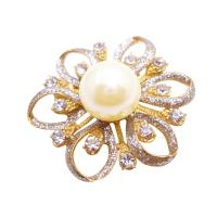 Gold Flower Brooch Fully Embedded w/ Diamante & Ivory Pearls At Center :  brooch gold pearls gold brooch gold flower brooch brooch diamante