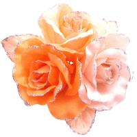 Satin Flower Creation Brooch Orange Pink Peach Gorgeous Dress Brooch from fashionjewelryforeveryone.com