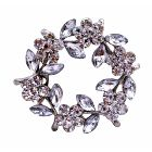 Simulated Diamond Flower Brooch w/ Enamel White Leaves Danity Pin Brooch