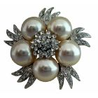 Bridal Simulated Diamond Crystals Pearls Brooch Pin Vintage Brooch